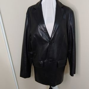 Kenneth Cole Leather Blazer M